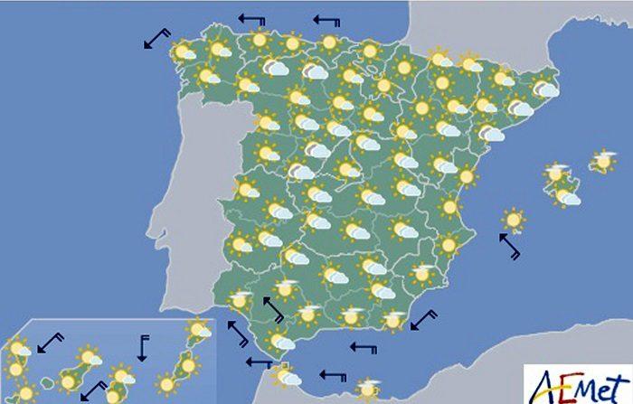 Hoy, chubascos en Cataluña y en sierras de Teruel Mapa elaborado por la AEMET el 31/08/2018 y válido para el 02/09/2018. EFE