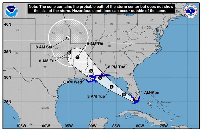 La tormenta tropical Gordon formada esta madrugada sobre los Cayos de Florida está arrasando en Florida con vientos fuertes y lluvias intensas, informó hoy el Centro Nacional de Huracanes (CNH). EFE/CNH/SOLO USO EDITORIAL/NO VENTAS