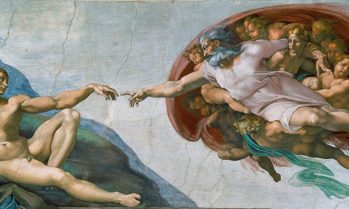 """""""La Creación de Adán"""" 1508-1512, por Michelangelo Buonarroti. Capilla Sixtina, Vaticano. (Dominio público)"""