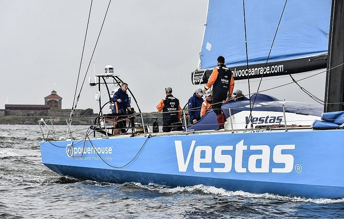 En esta imagen el equipo Vestas Wind durante la llegada de la etapa 9 desde Lorient a Gotemburgo, Suecia.Vesta es una industria de la UE. (Foto de Ricardo Pinto/Volvo Ocean Race vía Getty Images)