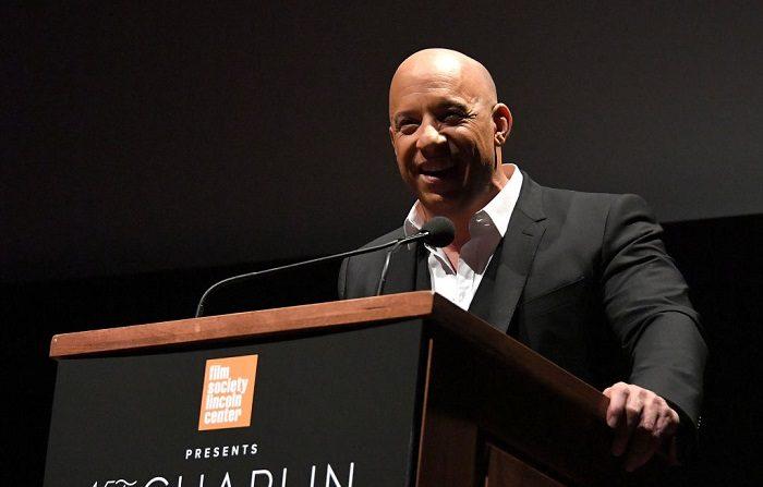 El actor Vin Diesel habla en el escenario durante la 45ª Gala del Premio Chaplin en Alice Tully Hall, Lincoln Center abril de 2018 en la ciudad de Nueva York. (Foto de Mike Coppola/Getty Images)