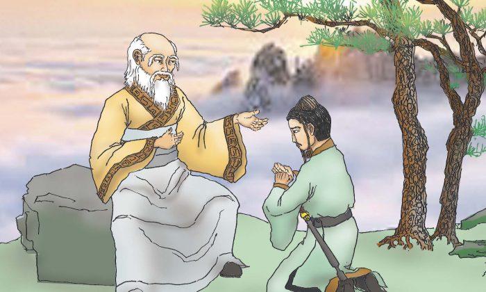 El Antiguo Señor Supremo enseñando el Taoísmo a  'Muleta de Hierro' Li. (Ilustración por Sun Mingguo/La Gran Época)