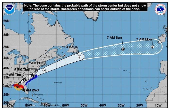 El huracán Michael reduce sus vientos a categoría 2 en su camino hacia Georgia Imagen cedida hoy, miércoles 10 de octubre de 2018, por el Centro Nacional de Huracanes (NHC), que muestra el pronóstico de cinco días del huracán Michael sobre el Océano Atlántico. EFE/NHC