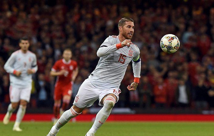 Ramos, el defensa goleador, ya es el decimoséptimo jugador con más tantos Sergio Ramos de España en acción, durante el partido de ayer en Cardiff. EFE