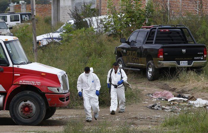 Peritos forenses trabajan en un predio el 15 de octubre de 2018, en la periferia del municipio de Tonalá, en el estado de Jalisco (México). Foto de EFE
