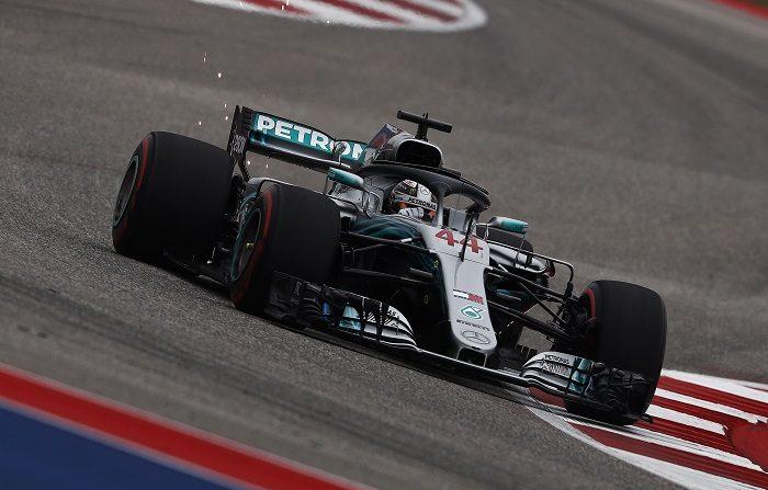 El británico Lewis Hamilton (Mercedes) en acción durante la tercera sesión de entrenamientos libres en el circuito de Las Américas en Austin, Texas, Estados Unidos. EFE