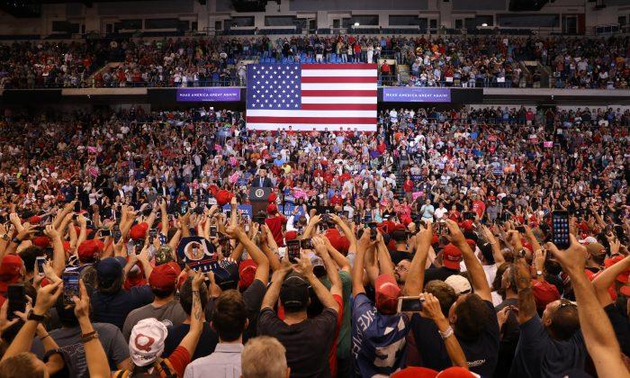 El presidente Donald Trump en un acto en Wilkes-Barre, Pennsylvania, el 2 de agosto de 2018. (Samira Bouaou/La Gran Época)