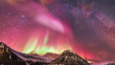 Sorprendente aurora boreal ilumina de color rosa la isla Svalbard