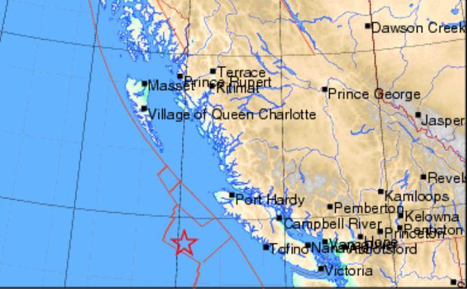 Ubicación aproximada del terremoto:en Canaaá de 6,5 grados el 22 de octubre de 2018 a las 5:39, hora UTC. No hay informes de daños. (Recursos Naturales, Gobierno de Canadá)
