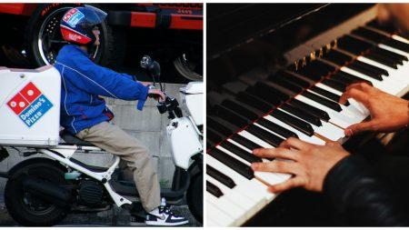 Nadie esperaba lo que haría este repartidor de pizza cuando toma el piano en la casa de un cliente