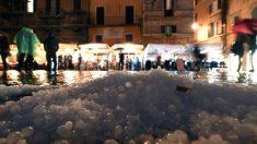 Descomunal tormenta de lluvia y granizo crea caos en Roma en medio de ola de mal tiempo en Italia