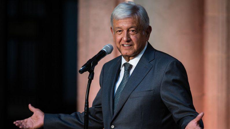 El presidente de México, Andrés Manuel López Obrador, en una conferencia de prensa en el Palacio Nacional el 3 de julio. (Manuel Velasquez/Getty Images)