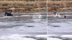 Este joven salta a un río congelado para salvar a su perro. El terrible momento dejó una gran lección