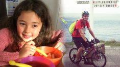 Este hombre recorrió 340 km con la pequeña bicicleta rosa de su difunta hija para honrar su memoria