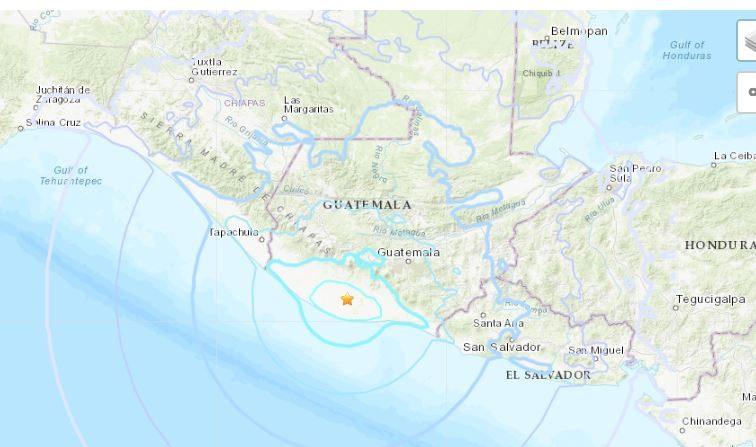 Terremoto en Guatemala a las 15:09, hora local del 12 de octubre de 2018. (USGS)