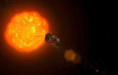 La sonda Parker Solar Probe se convirtió en la nave espacial más cercana al Sol el 29 de octubre de 2018, cuando pasó a 26,55 millones de millas de la superficie del Sol. (NASA/JHUAPL)