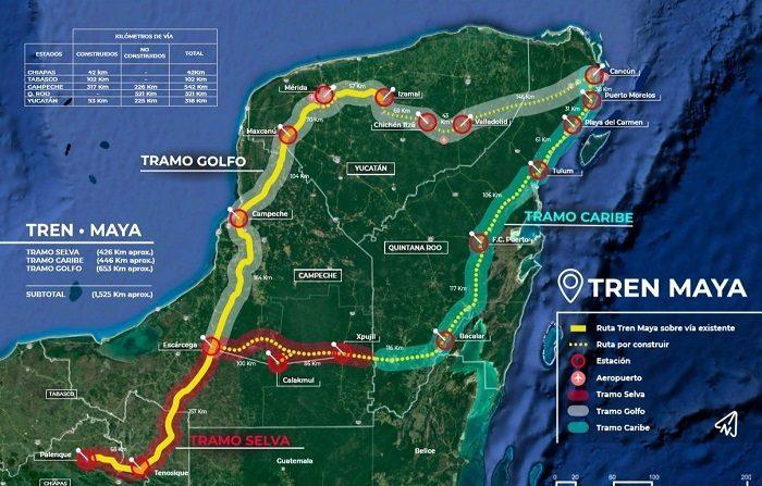 Ilustración cedida por el equipo de prensa del presidente de México, Andrés Manuel López Obrador, donde se observa el que sería el trayecto del Tren Maya en la península de Yucatán (México). EFE/Prensa AMLO