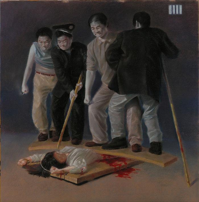 Uno de los muchos métodos de tortura que sufren los practicantes de Falun Dafa en China a manos del PCCh. (Crédito: minghui.org)