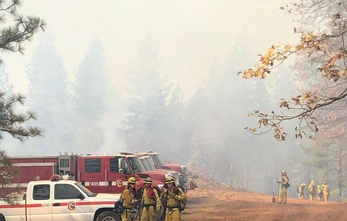 """Fotografía cedida por el Servicio Forestal Estadounidense (USFS) y el Grupo de Coordinación Nacional de Incendios que muestra a un grupo de bomberos mientras combaten las llamas en el incendio de Camp Fire, California (Estados Unidos) hoy, 19 de noviembre del 2018. Las autoridades del condado de Butte (California), donde arde el gigantesco incendio bautizado como """"Camp Fire"""", han rebajado a 993 el número de desaparecidos como consecuencia del desastre, mientras que la cifra de muertos se mantiene en 77, informan hoy medios locales. EFE/ Usfs/nwcg/MEJOR CALIDAD DE IMAGEN DISPONIBLE"""