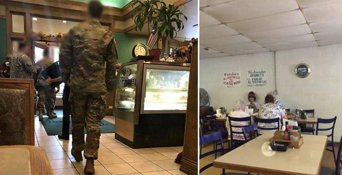 Grupo de soldados provocan un revuelo de solidaridad en un restaurante