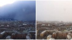"""Captan instante en que """"tsunami de nieve"""" cubre de blanco ciudad rusa"""