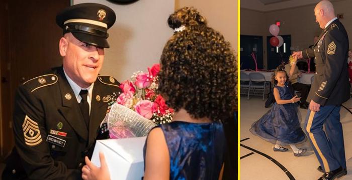 Este oficial escolta a la hija de un extraño a su primer baile padre-hija. La razón tocará tu corazón