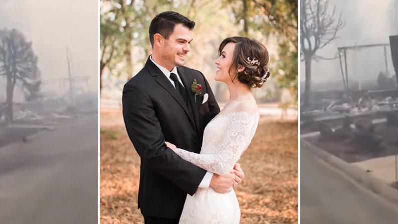 Esta pareja celebra su boda luego de perder todo en el feroz incendio que arrasó con toda su ciudad