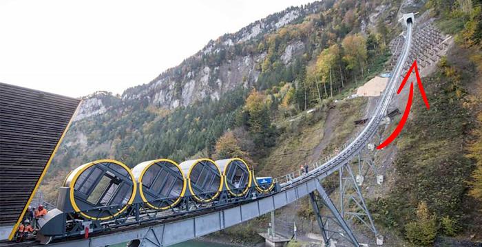El funicular más empinado del mundo te espera en los Alpes suizos ¡con 110% de pendiente!
