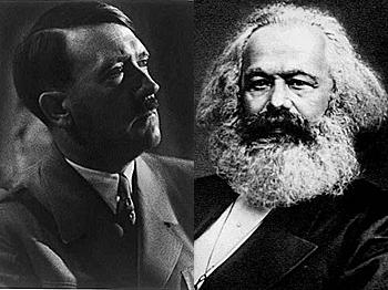 Usualmente se piensa que Adolf Hitler y Karl Marx representan los dos extremos del espectro político, pero en realidad son más similares que diferentes. (Adolf Hitler—Biblioteca del Congreso; Karl Marx—Dominio Público)