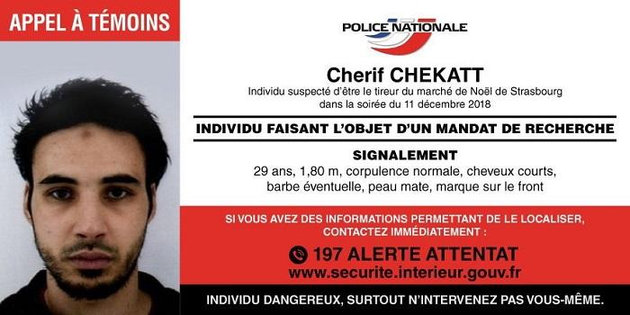 otografía cedida por la Policía Nacional Francesa hoy, 12 de diciembre de 2018 que muestra a Cherif Chekatt, sospechoso del tiroteo que se produjo ayer martes en la ciudad francesa de Estrasburgo. EFE