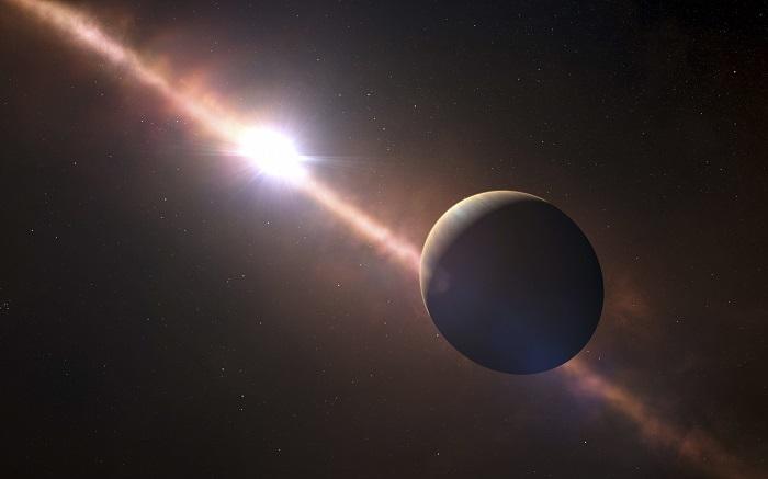 Un equipo de científicos ha descubierto el objeto más distante observado en el Sistema Solar, a una distancia más de cien veces superior que la que hay entre la Tierra y el Sol, informó hoy la organización Carnegie de Ciencia en un comunicado. EFE/ESO/L. Calçada/N. Risinger