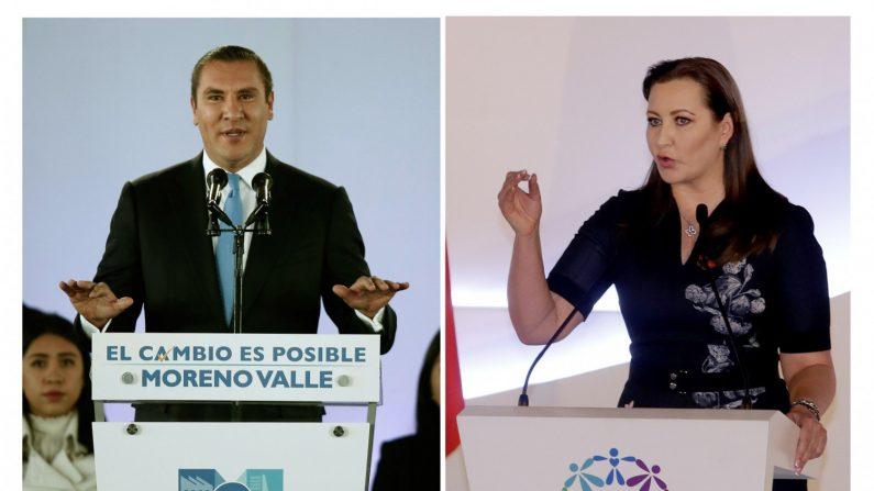 Combo de fotografías de archivo fechada el 15 de enero de 2017, que muestra al exgobernador de Puebla (México), Rafael Moreno Valle (i) y fechada el 14 de diciembre de 2018, que muestra a la actual gobernadora de este mismo estado, Martha Érika Alonso (d). (EFE)