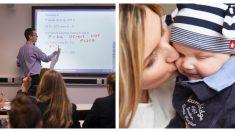 ¡Ama su vocación! Profesor de física gana elogios por cargar a la bebé de estudiante mientras enseña
