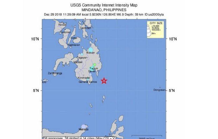 El 29 de diciembre de 2018, el Servicio Geológico de los Estados Unidos puso a disposición un mapa de intensidad de la ayuda que muestra la ubicación de un terremoto de magnitud 6,9 que sacudió la costa de Davao, en Filipinas. (Terremoto/sismo, Filipinas, Estados Unidos) EFE/EPA/UNITED STATES GEOLOGICAL SERVICE / Handout Handout EDITORIAL USE ONLY/NO SALES