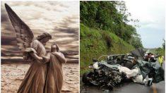 """Un """"ángel guardián"""" los ayuda a salir sin un rasguño de un terrible accidente en la carretera"""