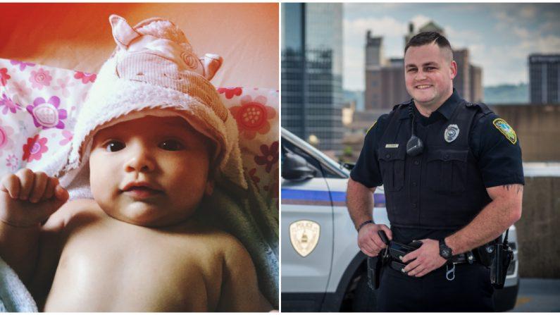 Este oficial de policía ve a un bebé rescatado de un auto siniestrado y se apresura a cantarle
