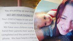 """Mira por qué esta guardería pide a los papás que """"cuelguen"""" sus móviles mientras recogen a sus hijos"""