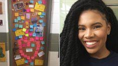 Estudiantes pegan notas de aliento en la puerta del dormitorio de niñas discriminadas por su piel