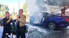 Un valiente hombre salva de las llamas a una anciana luego de sufrir un terrible accidente