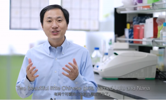 Captura de pantalla del video transmitido en Youtube de He Jiankui anunciando la creación de los bebés Lulu y Nana (Captura de pantalla/The He Lab)