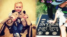 Hijo de un policía caído recibe de regalo osos de peluche hechos con los uniformes de papá