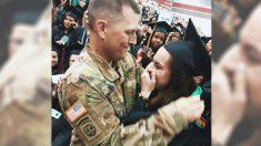 Este amoroso papá militar cruza el océano y sorprende a su hija en su graduación