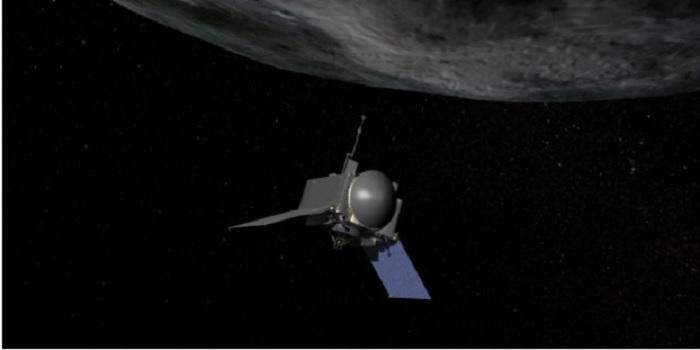 Recreación de la nave espacial OSIRIS-REx acercándose al asteroide Bennu. Imagen NASA.