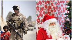 Soldado desplegado en Afganistán le da una emocionante sorpresa a su mamá disfrazado de Santa Claus