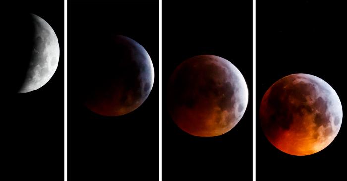 Una imagen compuesta muestra diferentes fases del eclipse total de luna (cronológicamente de izquierda a derecha) en Allaman, Suiza, el 21 de enero de 2019. EFE/EPA/VALENTIN FLAURAUD