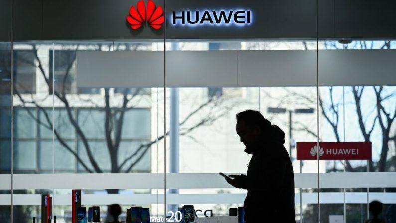 Un hombre mira su teléfono móvil mientras pasa por una tienda Huawei en Beijing el 28 de diciembre de 2018. (WANG ZHAO/AFP/Getty Images)