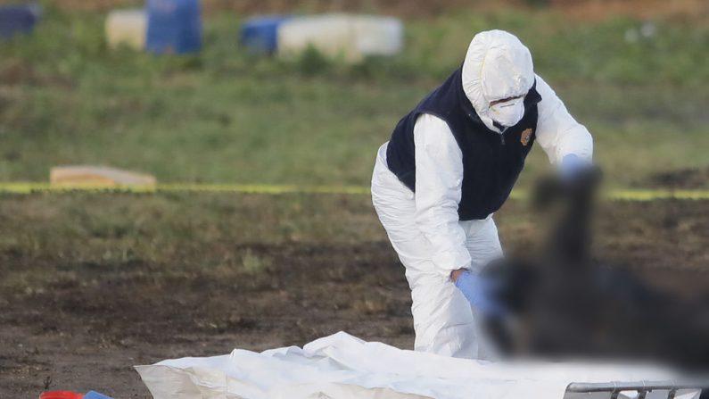 Un médico forense trabaja con un cuerpo quemado después de una explosión en un oleoducto de la compañía petrolera mexicana PEMEX el 19 de enero de 2019 en Tlahuelilpan, México. (Hector Vivas/Getty Images)