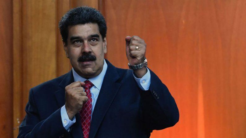 El dictador de Venezuela, Nicolás Maduro, luego de una conferencia de prensa en Caracas, Venezuela, 25 de enero de 2019. (YURI CORTEZ/AFP/Getty Images)