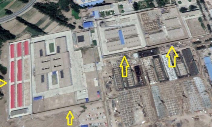 Una presunta prisión en la prefectura de Kashgar, provincia de Xinjiang, a unos 8,5 km al oeste del condado de Yarkant, identificada por Google Maps como actual imagen. (Google Maps via Li Fang)