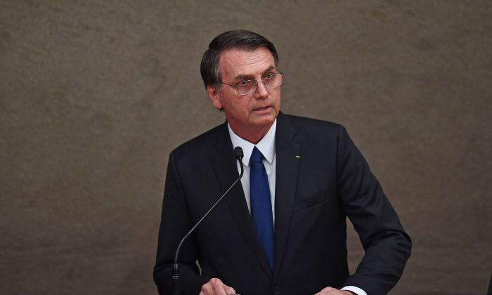 El presidente electo de Brasil, Jair Bolsonaro, pronuncia un discurso en un evento en Brasilia el 10 de diciembre de 2018. (Evaristo Sa/AFP/Getty Images)